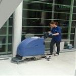 floor polishing machine in use